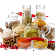 Bottles of colorful spices - Foto Stock