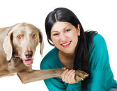 Young smiling woman with dog — Stock Photo