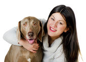 Young beautiful woman with dog — Stock Photo