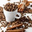 Coffee cup and spices — Stock Photo