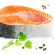 Royalty-Free Stock Photo: Salmon with salt and peppers