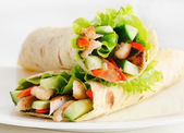 Tortilla chicken wraps — Stock Photo