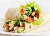 Tortilla chicken wraps — Stock Photo