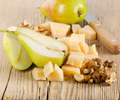 Cheese on a wooden table. Selective focus — Stock Photo