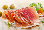 Slices of cured ham — Stock Photo