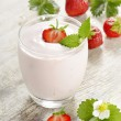 Stock Photo: Strawberry yogurt