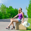 Pretty young woman waiting on the road — Stock Photo #28267711