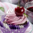 Stock Photo: Cupcake with cherry