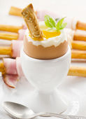 Boiled egg in eggcup — Stock Photo
