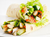 Tortilla wraps with chicken — Stock Photo