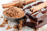 Broken chocolate bar and spices . — Stock Photo