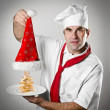 Smiling Santa chef — Stock Photo