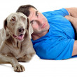 Happy man with his dog — Stock Photo