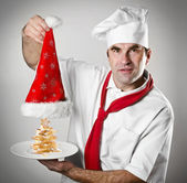 Smiling Santa chef — Stock Photo