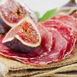 Figs and salami — Stock Photo