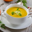 Stock Photo: Creamy pumpkin soup