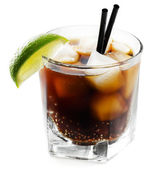 Cocktail with lime and cola — Foto de Stock