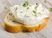 Bread with cream cheese — Stock Photo