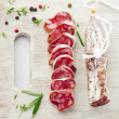 Platter with salami — Stock Photo