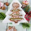 Homemade christmas cookies on wooden table — Stock Photo #36197277