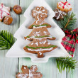 Homemade christmas cookies on wooden table — Stock Photo