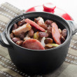 Stew of beans  and smoked sausages — Stock Photo