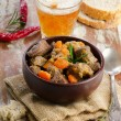 Broth and beer — Stock Photo