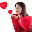 Woman with heart shaped balloons — Stock Photo #39153299