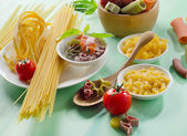 Pasta on a wooden table — Stock Photo