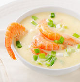 Creamy soup with  seafood — Stock Photo