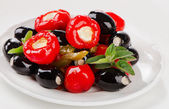 Olives and peppers filed with  cheese — Stock Photo