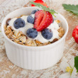 Muesli and yogurt with fresh berries — Stock Photo