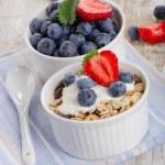 Muesli and yogurt with fresh berries — Stock Photo #47931443