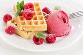 Belgian waffles with raspberries sorbet — Stock Photo