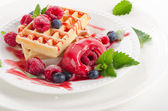 Belgian waffles with berries — Stock Photo