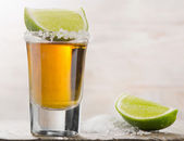 Tequila shot with lime — Stock Photo