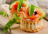Canape  with salmon — Stock Photo
