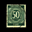 GERMANY - CIRCA 1930s: A stamp printed in Germany shows sign 50 pfening, circa 1930s - Stock Photo