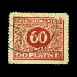 CZECHOSLOVAKIA - CIRCA 1938: Czech postage stamp with the sign 60 in the center, circa 1938 — Stock Photo