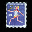 Stock Photo: CZECHOSLOVAKI- CIRC1972: stamp printed in Czechoslovakidevoted to 80 years established Czech Republic Tennis Federation, circ1972