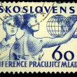 CZECHOSLOVAKIA - CIRCA 1958: A stamp printed in Czechoslovakia honoring Festival of Youth and Students in Prague, circa 1958 — Stock Photo