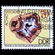 DDR - CIRCA 1985: A stamp printed in DDR (East Germany) shows semiprecious stone Achat, circa 1985 — Stok fotoğraf
