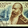 USSR - CIRCA 1989: A Stamp printed in the USSR shows Portrait of S.O. Makarov, 1849-1904. A sea battle in the background from Russian Admirals Set, circa 1989. — Stock Photo