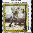 "Stock Photo: MALAGASY REPUBLIC - CIRC1986: stamp printed in Malagasy Republic (Madagascar) shows draw of artist Alexei Savrasov ""Rooks Have Come Back"", circ1986"