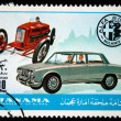 MANAMA (AJMAN) - CIRCA 1970s: A stamp printed in emirate Bahrain of the United Arab Emirates shows Alfa Romeo cars, series, circa 1970s — Stock Photo
