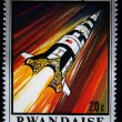 Stock Photo: REPUBLIC RWAND- CIRC1970: stamp printed in Republic Rwandcommemorating USoperation moon, circ1970