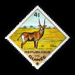 GUINEA - CIRCA 1975: A stamp printed in Guinea shows Antelope - kobus defasa, circa 1975 — Stock Photo
