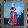 "POLAND - CIRCA 1967: A stamp printed in Poland shows a painting ""Polish Woman"" by Jean-Antoine Watteau who was a French painter whose brief career spurred the revival of interest in colour a — Stock Photo"