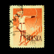 POLAND - CIRCA 1950s: A stamp printed in Poland shows archer, circa 1950s — Stock Photo