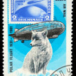 MONGOLIA - CIRCA 1981: stamp printed by Mongolia, shows Graf Zeppelin and polar fox, circa 1981 - Stock Photo